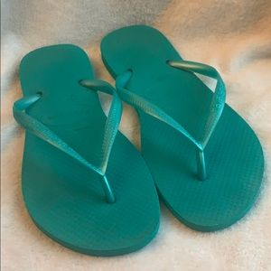 Havaianas flip flop thong sandals aqua teal blue